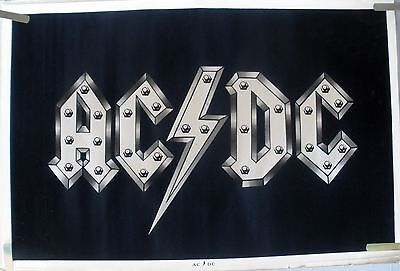 Rare Ac/dc 1980's Vintage Original Black Light Music Poster