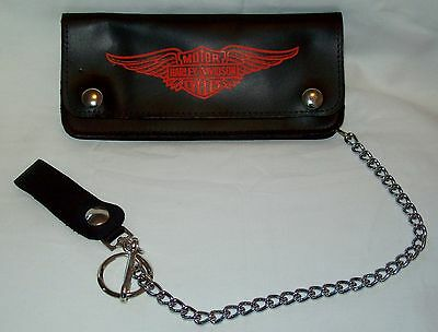 """Harley Davidson Wallet with Chain Black Leather 8"""" Long New Free Shipping!"""