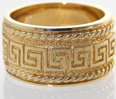 MENS LADIES 10K GOLD WIDE GREEK-KEY DESIGN W/ ROPING EDGE RING 10.5mm SIZE 7.5