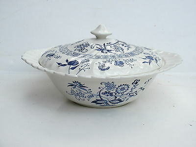 """Johnson Brothers BLUE NORDIC Round Covered Vegetable Bowl 9 1/4"""""""