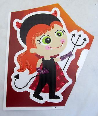 Halloween Girl She Devil pitch fork House Car Window Cling Decal Reusable NEW