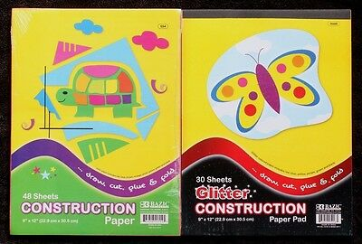 Glitter / Plain Coloured Construction Pad Kids Craft Activity Paper A4 Sheets