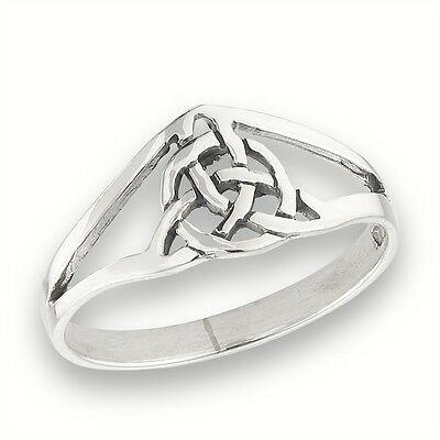 Open Style Dainty Sterling Silver Celtic Knot Ring Jewelry Size 2-5