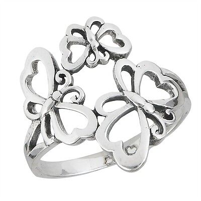 Fabulous Sterling Silver Triple Butterfly Outline Fashion Ring Size 5-8