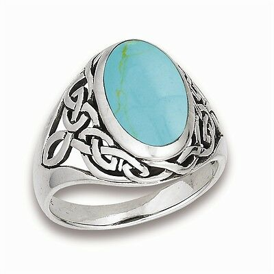 Sterling Silver Synthetic Turqoise Men's CELTIC Knot Jewelry Ring Size 6-10