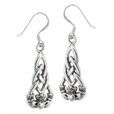 Sterling Silver Earrings CLADDAGH & CELTIC KNOTWORK