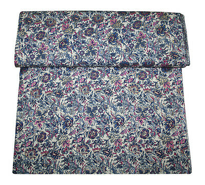Gold Floral Print On Base Color White Ethnic Vintage Fabric Sold By 5 Yard