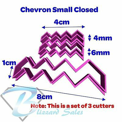 Chevron Zig Zag Cookie Fondant Cutter Large or Small Set Open or Closed Style