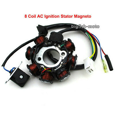 8 Coil Pole AC Ignition Stator Magneto For GY6 50cc Scooter Moped ATV Go Kart