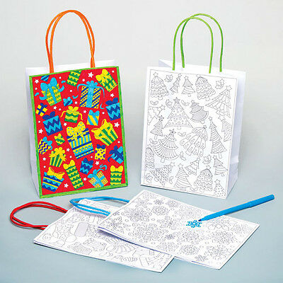 Christmas Gift Bags for Children to Decorate Creative Xmas Kids Craft (Pack of 6