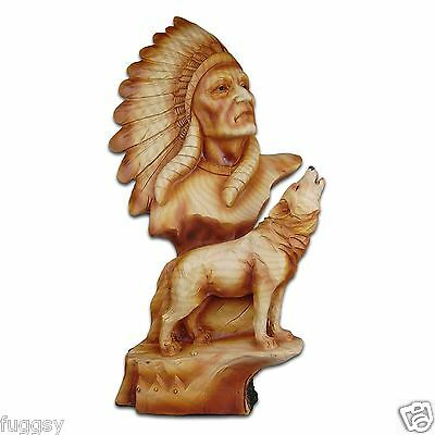 The Cherokee River Collection Indian Chief & Howling Wolf Resin Plaque #8715