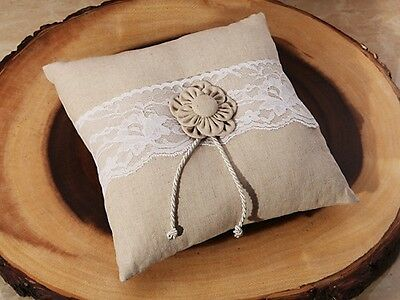 Rustic Collection Hessian (burlap) and Lace Wedding Day Ring Cushion Pillow
