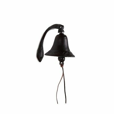"6"" Metal Black Cast Iron Wall Bell on Curved Bracket"