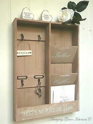 Shabby Chic Letter Rack Storage Key Hooks Holder Vintage Style Wall Mounted