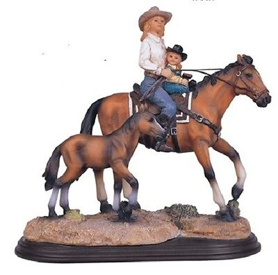 8.75 Inch Mother & Daughter on Horse Collectible Figurine Statue Cowgirl Cowboy