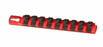 "Ernst 8411  8"" Long, 3/8"" Dr. Socket Organizer Rail w/ 9 Twist Lock Clips - Red"