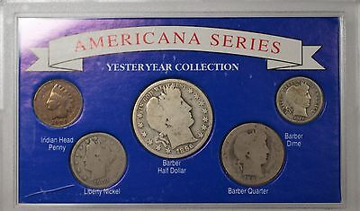 """1896 """"Americana Yesteryear Collection"""" Silver Barber Half Quarter Dime 5 Coins"""