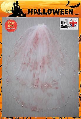 Luxury Dead Bridal Veil Halloween Fancy Dress Costume Party Horror Bride To Be