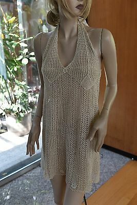 Lim's Vintage 100% Cotton Hand Crochet Dress with Strap Fit S to L Natural