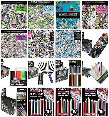 Colour Therapy Adult Colouring Books with Crayons Felt Tips Anti Stress Relax