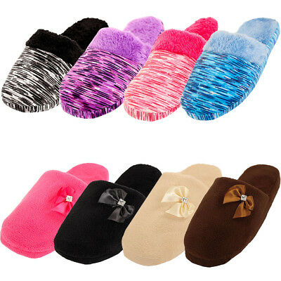 Womens Cozy Plush Slippers House Shoes Fuzzy Slip On Soft Warm Fleece Indoor New