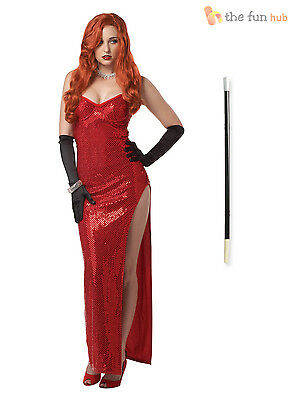 Ladies 1920s Hollywood Movie Star Womens Jessica Rabbit Fancy Dress Costume