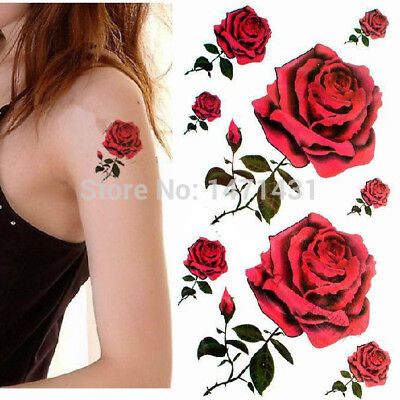 Sheet Mens Ladies Temporary Tattoos Red Rose Flowers Celtic Bands Circles Stars