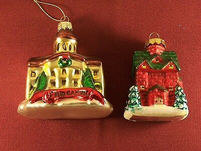 Lot of 2 Glass Christmas Holiday Ornaments Church and State Capitol decorate