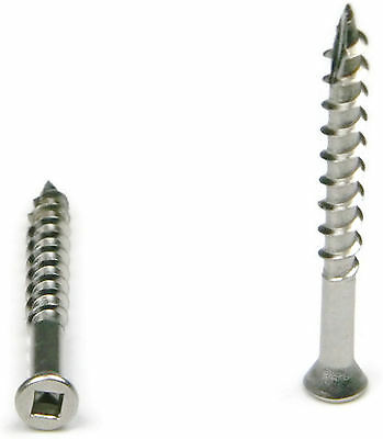 "Square Drive Deck Screws Trim Head 305 Stainless Steel - #7 x 1-1/4"" Qty 100"