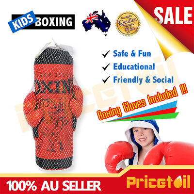 OZ Junior Hanging Boxing Punching Bag Ball Boxing Gloves Kids Boys Xmas Gift