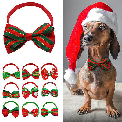10/20/60/100pcs Christmas Dog Bow Tie Cat Puppy Necktie Necklace Dog Grooming