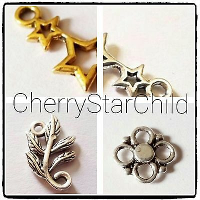 Silver gold pl connectors for pendant earrings necklace crafts findings star