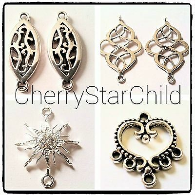 Silver pl connectors pendant earrings necklace craft findings star crystals 2pcs