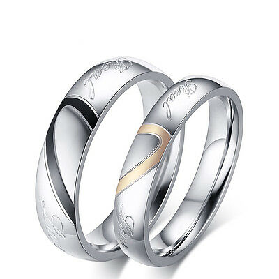 Heart-shaped Titanium Steel Promise Ring Couple Wedding Bands Lovers Gift