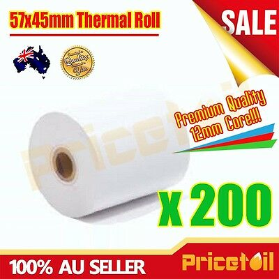 200 Rolls 57x45mm Premium Thermal Paper Cash Register Receipt Rolls EFTPOS Paper