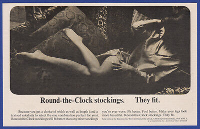 Vintage 1964 ROUND-THE-CLOCK STOCKINGS Hosiery Women's Fashion Print Ad 1960's