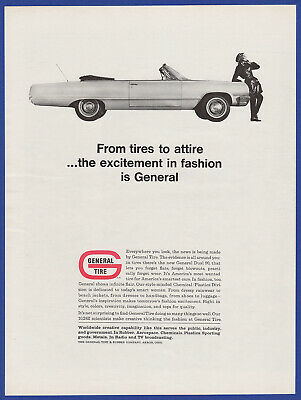 Vintage 1964 GENERAL TIRE Akron OH Gas Garage Racing Decor Print Ad 1960's