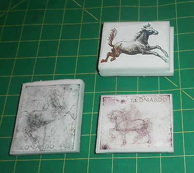 3 Horse Rubber Stamps Lot