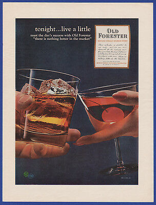 Vintage 1964 OLD FORESTER Bourbon Whisky Alcohol Restaurant Decor Print Ad 60's