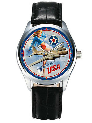 "Vintage Blue B-17 Flying Fortress Ww-Ii ""made In Usa"" Usaaf Aviation Art Wrist"