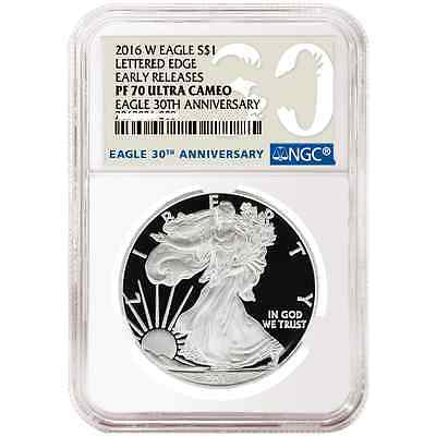 2016 W American Silver Eagle Proof 30th Anniv. NGC PF70 UC Early Release In Hand