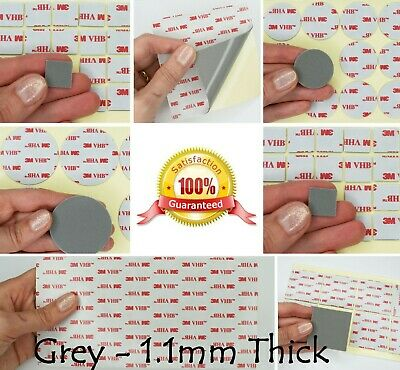 GREY 1.1mm Thick ~ 3M VHB Acrylic PADS Foam Tape ~ DIY, ELECTRONIC & CAR REPAIRS