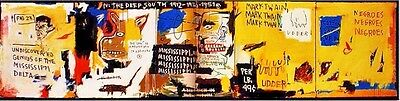"Jean Michel Basquiat Oil Painting on Canvas Abstract 20x80"" Expressionism art"
