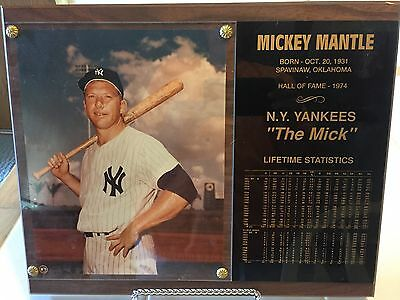 Mickey Mantle Lifetime Statistics And Photo Plaque