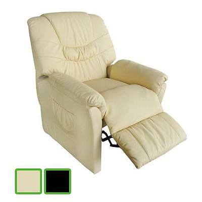 Black/Creme Massage Chair Leather Recliner Electric Remote Control Stretching