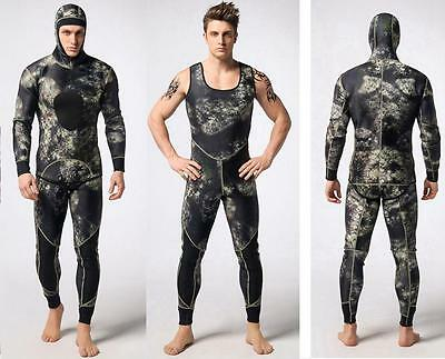 2pcs 3mm Neoprene Men Camouflage Jumpsuit Spearfishing Wet Suit Wetsuit Surfing