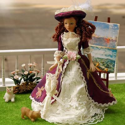 1/12 Scale Dollhouse Miniature Porcelain Dolls Victory Lady with Hat