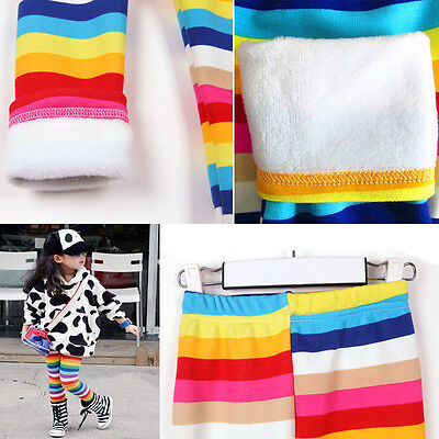 Hot Girls Winter Warm Thick Leggings Fleece Kids Rainbow Trousers Pants for 2-6Y