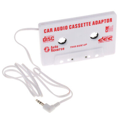 Car Cassette Casette Tape Audio Adapter White 3.5mm AUX MP3 MP4 Player