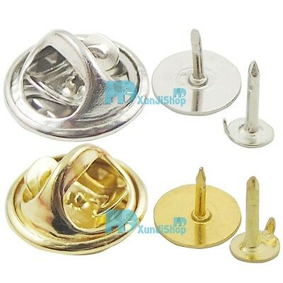TIE Tacks Findings Pins & Round Pinch Clip Chrome Lapel Clutches 4.5mm 10mm Pad